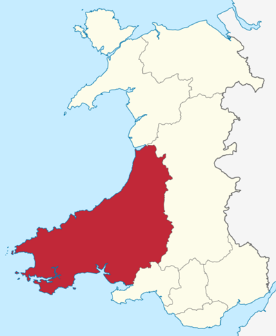 Location of Dyfed in Wales